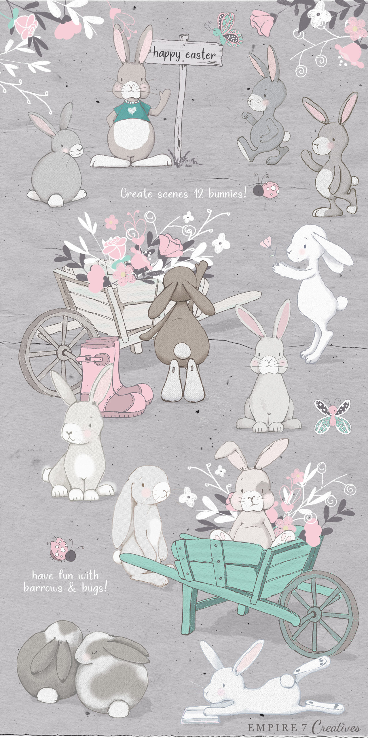 rabbit clipart pretty little lines