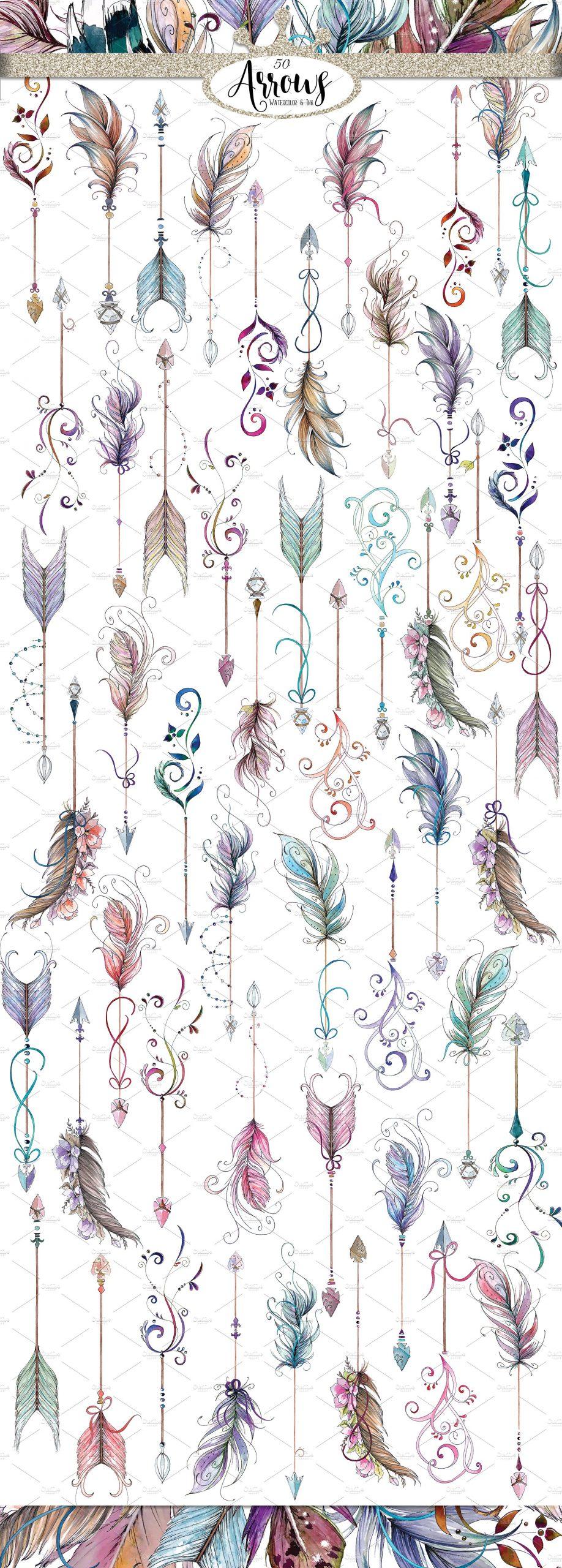 watercolor boho arrows clipart pretty little lines