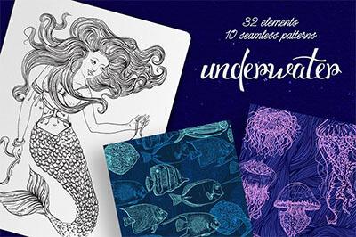 vintage mermaid clipart