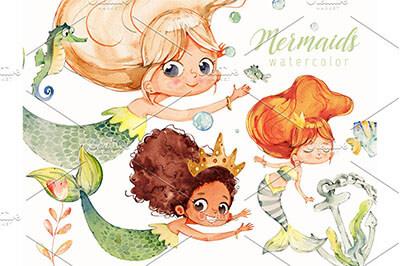 cute mermaid clipart