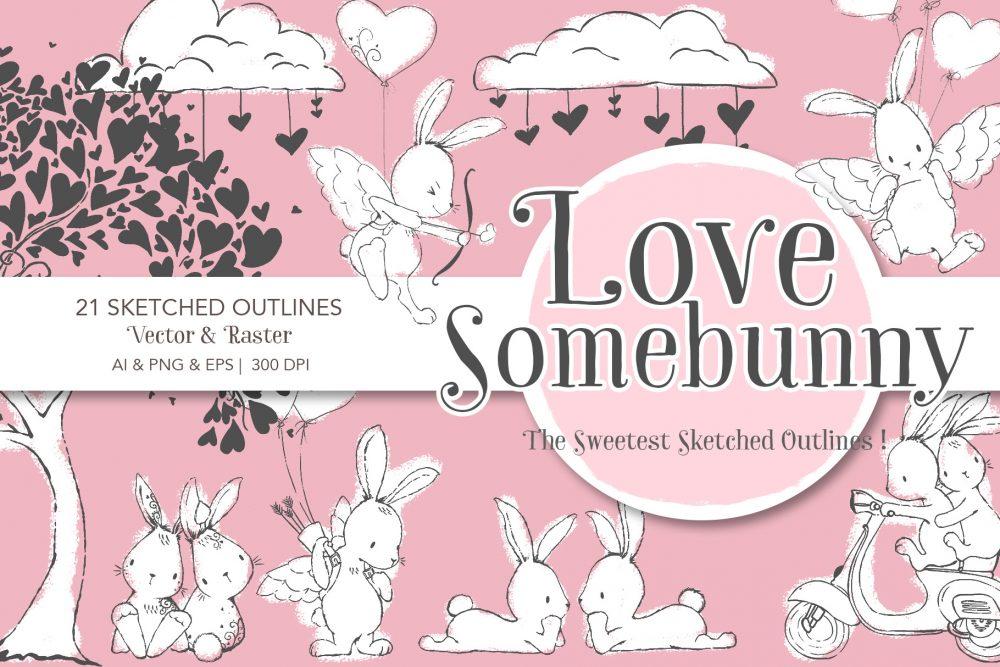 bunny line drawings